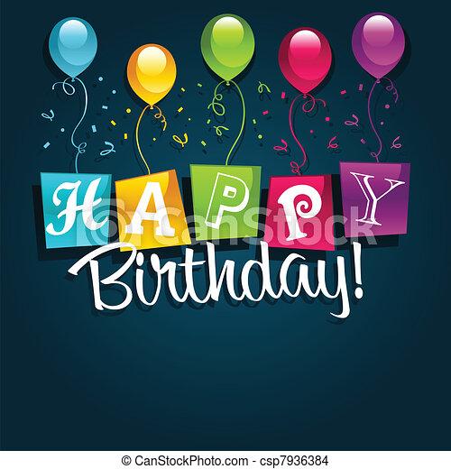 cumpleaños, ilustración, feliz - csp7936384