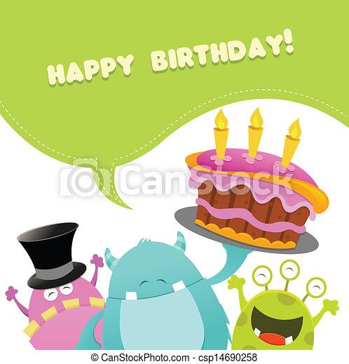 Tarjeta de monstruos de cumpleaños - csp14690258