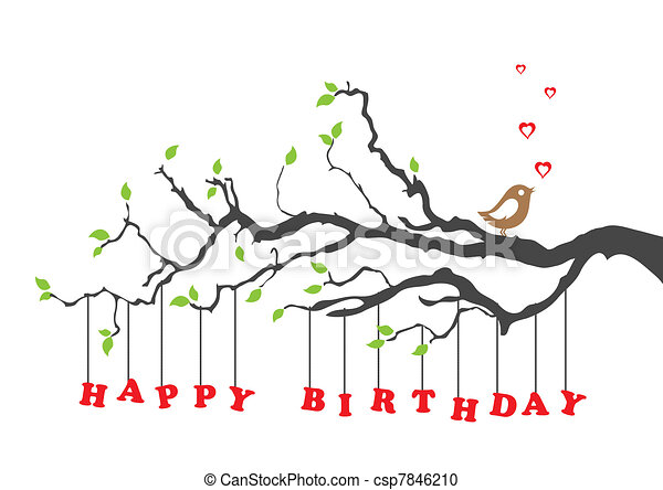 cumpleaños, pájaro, tarjeta, feliz - csp7846210