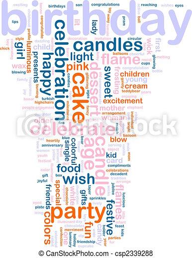 cumpleaños, palabra, nube - csp2339288