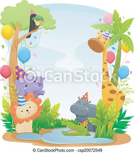Trasfondo de cumpleaños animal Safari - csp20072549