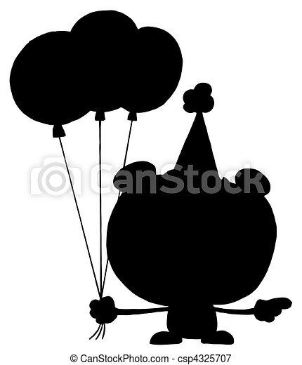 cumpleaños, silueta, oso - csp4325707