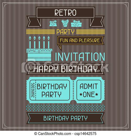 Tarjeta De Invitación Para El Cumpleaños Con Estilo Retro