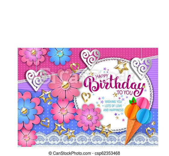 Feliz tarjeta de cumpleaños - csp62353468