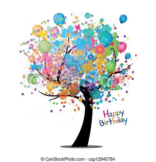 cumpleaños, vector, tarjeta de felicitación, feliz - csp12945784