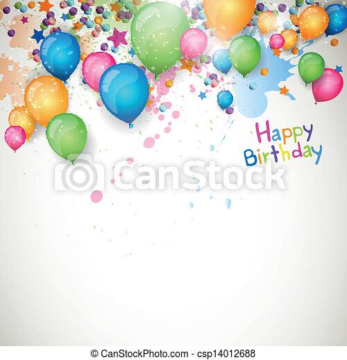 cumpleaños, vector, tarjeta de felicitación, feliz - csp14012688