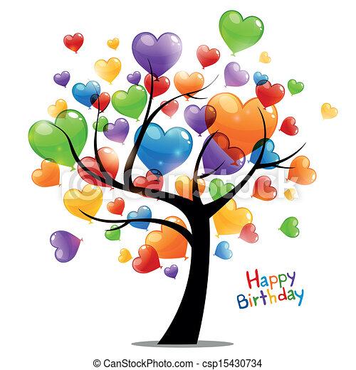 cumpleaños, vector, tarjeta de felicitación, feliz - csp15430734