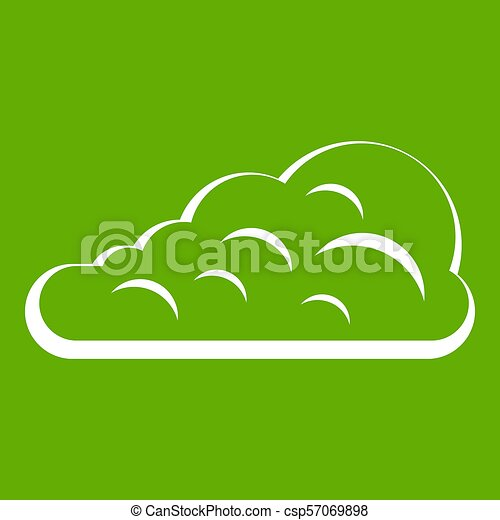 Cumulus Cloud Icon Green Cumulus Cloud Icon White Isolated On Green