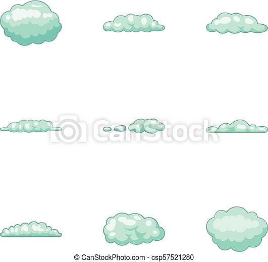Cumulus Cloud Icons Set Cartoon Style Cumulus Cloud Icons Set