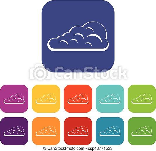 Cumulus Cloud Icons Set Flat Cumulus Cloud Icons Set Vector