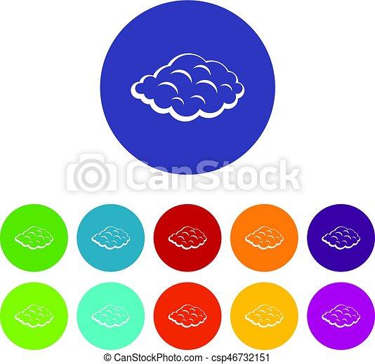 Cumulus Cloud Icons Set Flat Vector Cumulus Cloud Icons Set In