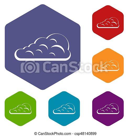 Cumulus Cloud Icons Set Hexagon Isolated Illustration