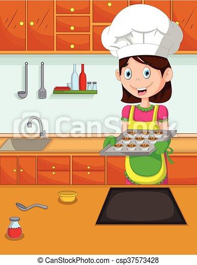 cuoco, carino, kitche, cartone animato, mamma - csp37573428