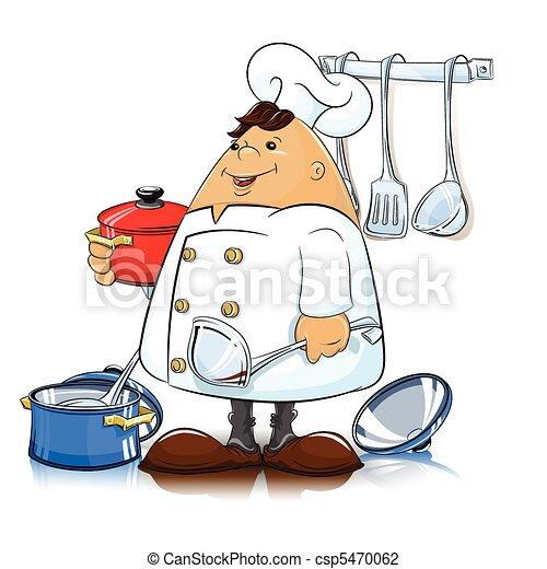 Cuoco utensili cucina cuoco utensili vettore for Disegno cucina