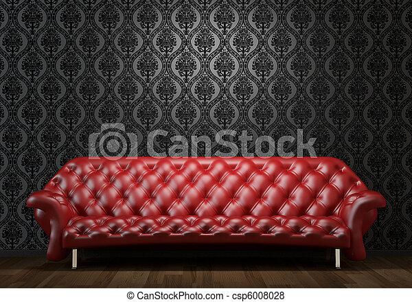 cuoio, parete, nero rosso, divano - csp6008028