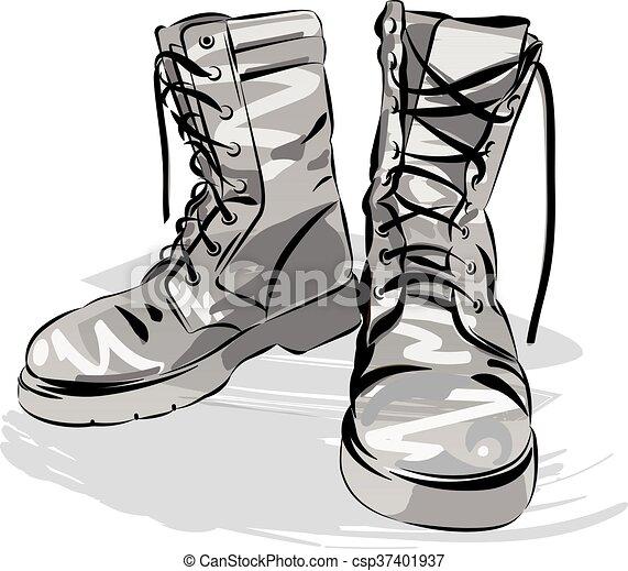 cuoio, portato, stivali, vettore, illustrazione, militare - csp37401937