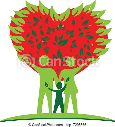 cuore, amore, albero, logotipo, famiglia - csp17295566