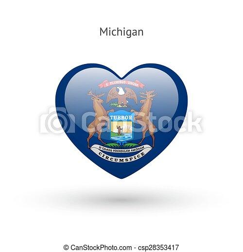 cuore, amore, bandiera michigan, simbolo., stato, icon. - csp28353417