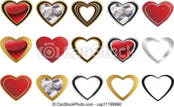 cuore, amore, diamante, dorato, icona - csp11199990