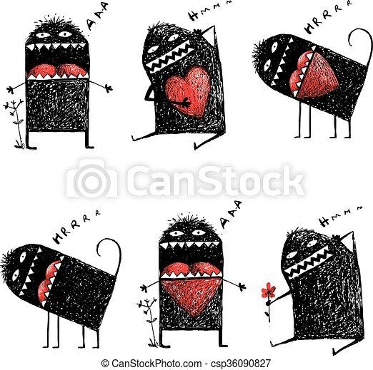cuore, amore, mostro, eccentrico, carattere, brutto, sketchy, rosso - csp36090827