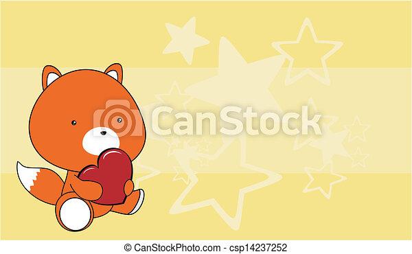 Cuore amore volpe bambino backgro cartone animato. cuore amore