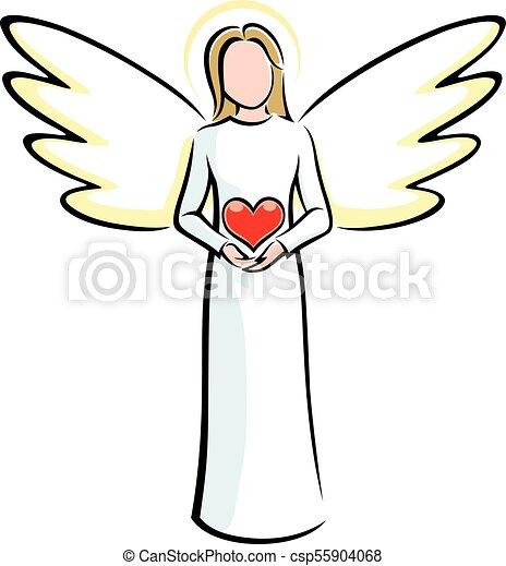 Cuore Angelo Presa A Terra Heart Illustrazione Stilizzato