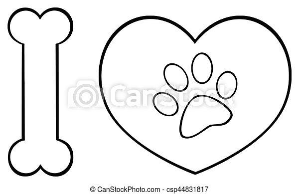 Cuore Animali Amore Zampa Nero Logotipo Stampa Disegno