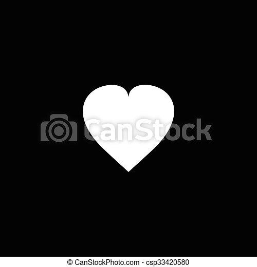 Cuore Bianco Sfondo Nero Cuore Amore Sopra Profondo Nero