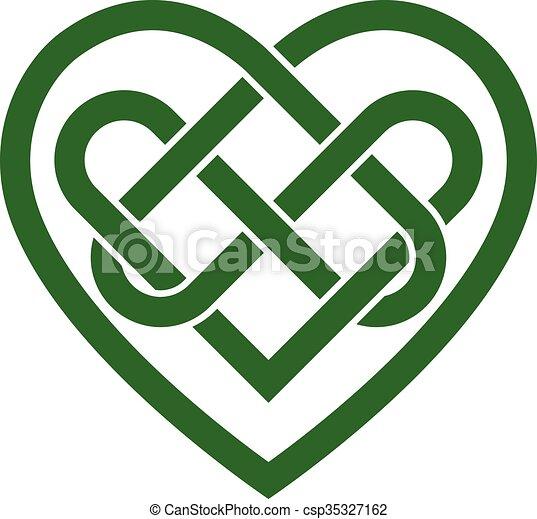 cuore, celtico, vettore, irlandese, nodo - csp35327162