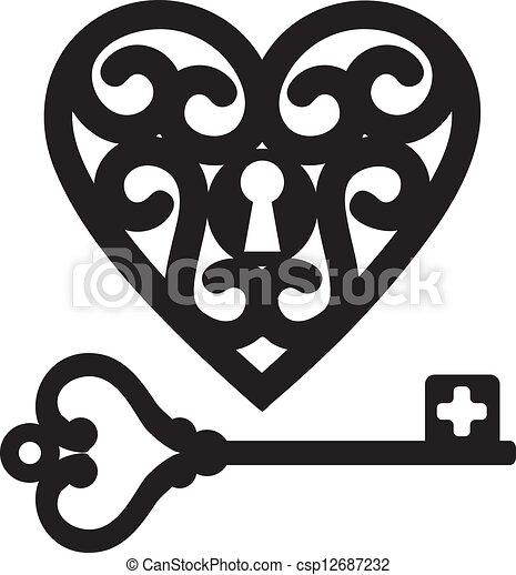 cuore, chiave scheletro - csp12687232