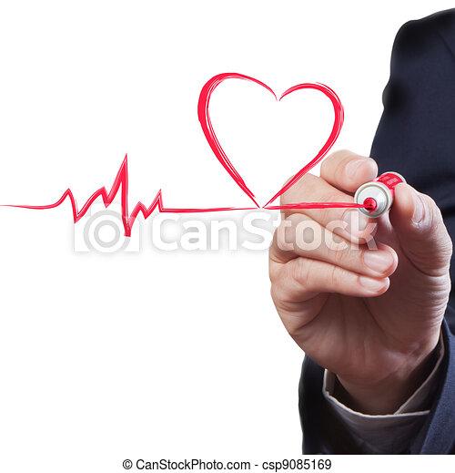 cuore, concetto, medico, alito, linea, uomo affari, disegno - csp9085169