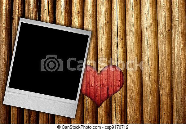 cuore, cornice, legno, fondo, foto - csp9170712