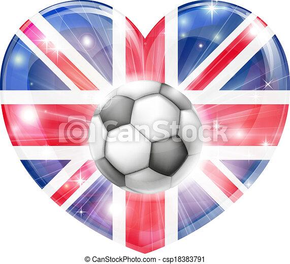 cuore, cricco, unione, calcio, bandiera - csp18383791