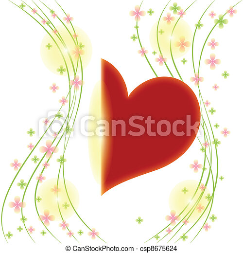 cuore, fiore, augurio, primavera, scheda rossa - csp8675624