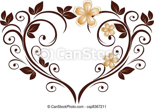 cuore, fiore, picchiettio, openwork - csp8367211
