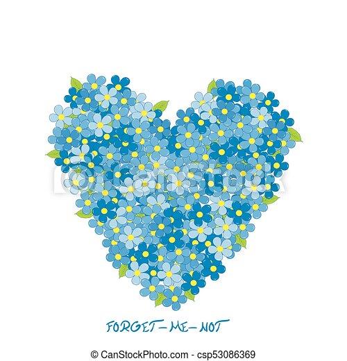 cuore, fiori, nontiscordardime, fatto - csp53086369