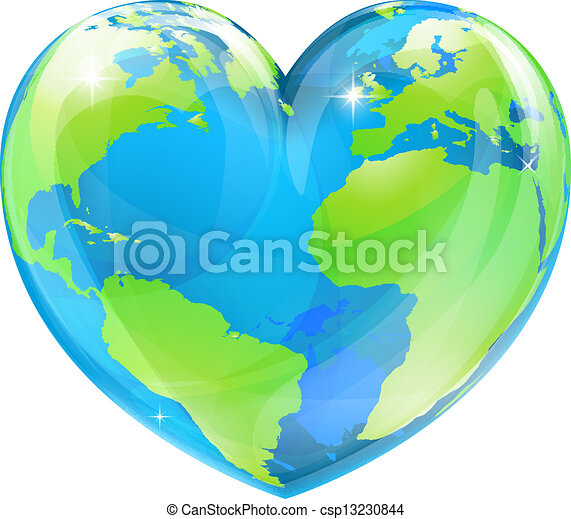 cuore, globo, concetto, mondo - csp13230844
