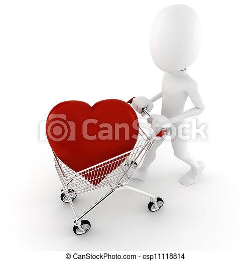 cuore, grande, acquisto, 3d, rosso, uomo - csp11118814