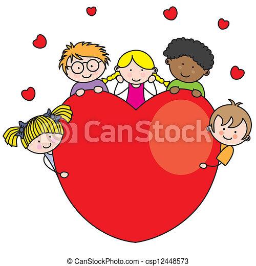 cuore, gruppo, bambini - csp12448573