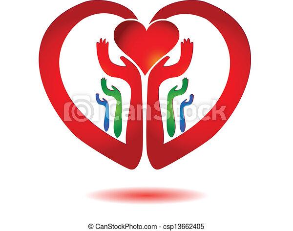 cuore, icona, vettore, tenere mani - csp13662405
