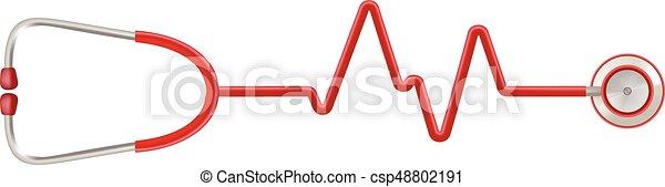 cuore, illustration., realistico, abbatacchiare, isolato, ekg, forma, vettore, stetoscopio, fondo., bianco - csp48802191