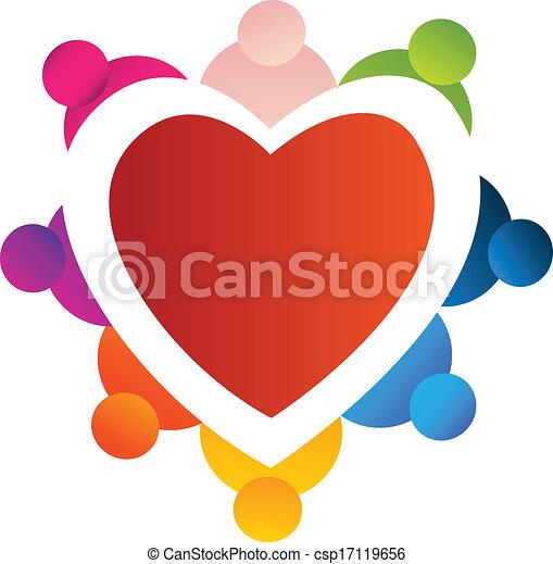 cuore, lavoro squadra, intorno, logotipo - csp17119656