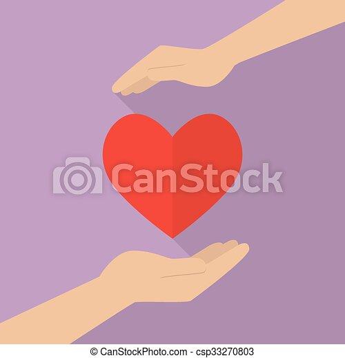 cuore, mani, presa a terra, icona - csp33270803