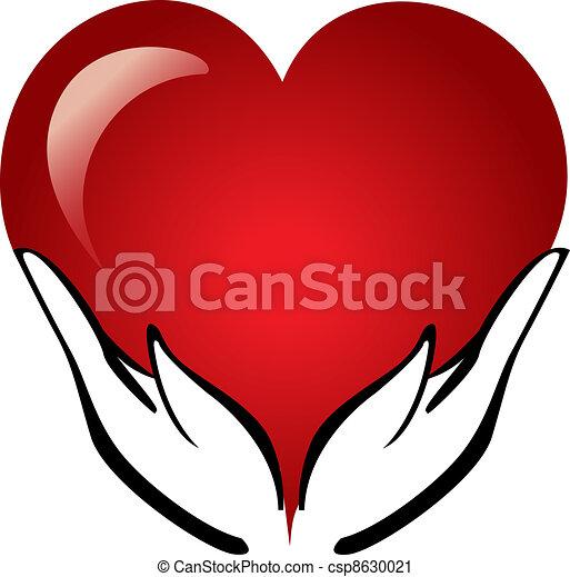 cuore, mani, presa a terra, logotipo - csp8630021