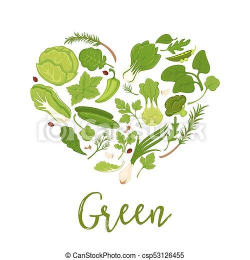 cuore, manifesto, verdura, dieta, lattuga, forma, vettore, verde, insalate - csp53126455