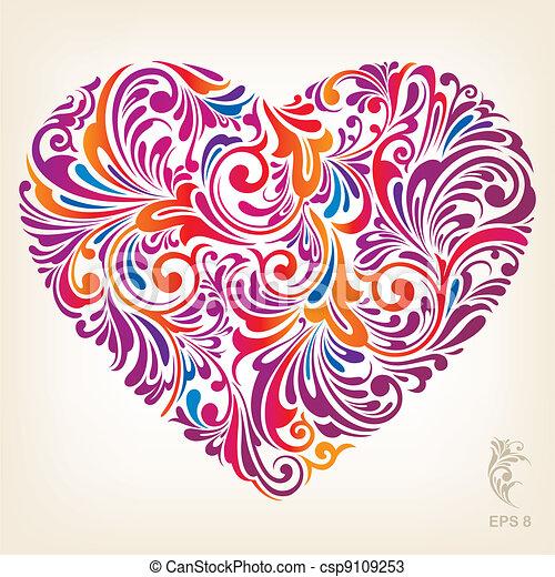 cuore, ornamentale, colorato, modello - csp9109253