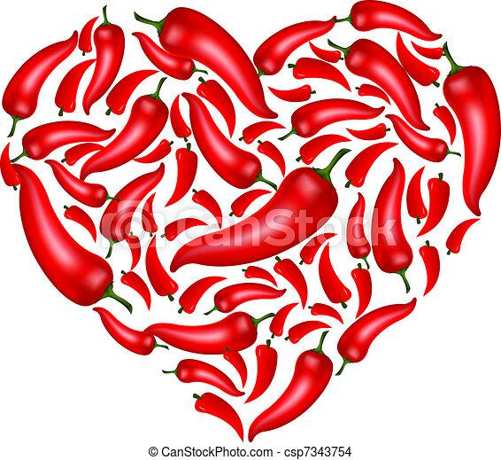 cuore, pepe peperoncino rosso - csp7343754