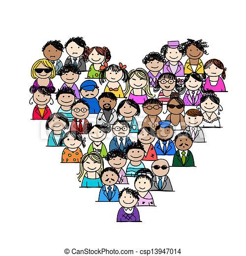 cuore, persone, icone, forma, disegno, tuo - csp13947014