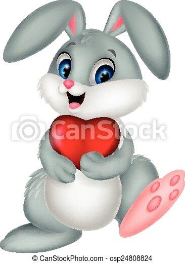 cuore, presa a terra, coniglio, cartone animato, rosso - csp24808824