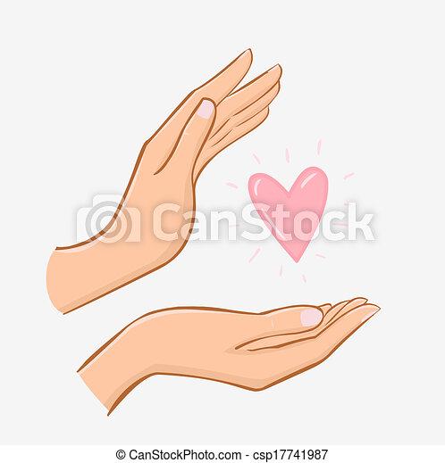 cuore, presa, isolato, femmina porge, bianco, cura - csp17741987